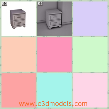 3d model the nightstand in white - This is a 3d model of the nightstand in white,which is a table and the model is made in the modern style.