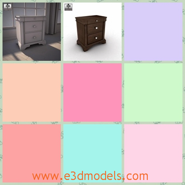 3d model the nightstand in wood - This is a 3d model of the nightstand in wood,which is not so tall but stable enough.The model is common in room.