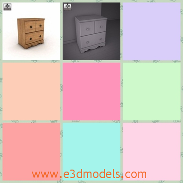 3d model the nightstand in wood - This is a 3d model of the nightstand in wood,which is placed in the bedside and it is convenient for us to put something on it.