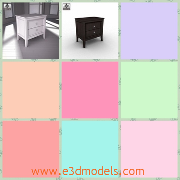 3d model the nightstand with two drawers - This is a 3d model about the nightstand with two drawers,which is made of wood and the model is placed in the bedroom.