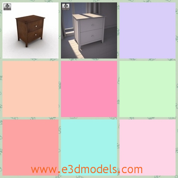 3d model the nightstand with two drawers - This is a 3d model of the nightstand with two drawers,which is made of nico materials and the textures are special on the surface.