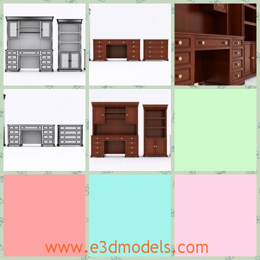 3d model the office furniture - This is a 3d model of the office furniture,which is wooden and not easy to be moved.