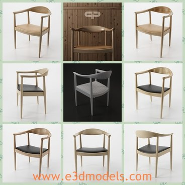 3d model the old style chair - This is a 3d model of the old style chair,which is made of wooden materials.The chair is popular and scaled.