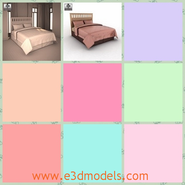 3d model the panel bed - This is a 3d model of the panel bed,which is tidy and clean.The model is made of wood and other materials.So the bed is so heavy to move.