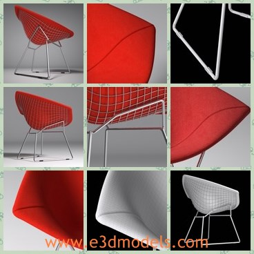 3d model the red armchair - This is a 3d model of the red armchair,which is modern and made in details.The chair has two special legs.