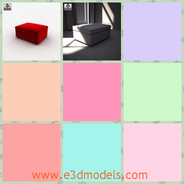 3d model the red footstool - This is a 3d model of the red footstool ,which is short and there is a large Large practical storage space under the seat, working both as an extra seat and as a comfortable extension of your sofa.
