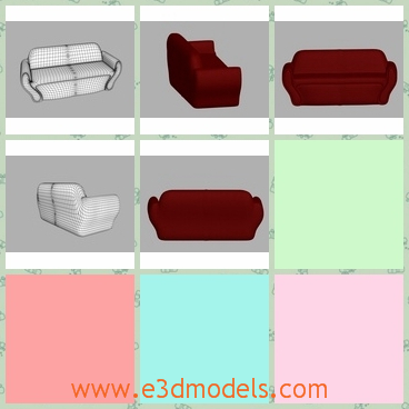 3d model the red sofa in the living room - This is a 3d model of the red sofa in the living room,which s long and modern.The model is poplar amongst young people.