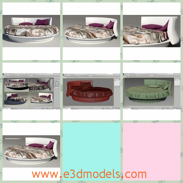 3d model the round bed in modern style - This is a 3d model about the round bed made in modern style,which is placed in the middel of the room and the textures of the bed are special and glorious.