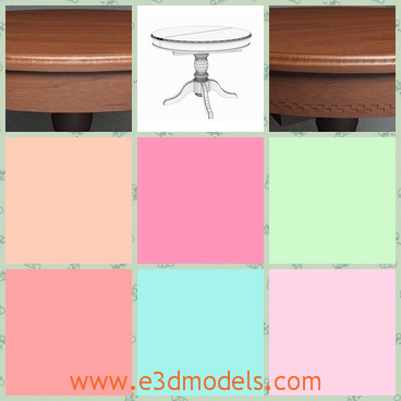 3d model the round table - This is a 3d model of the round dining table,which is made by the Amadeus and the shape of the table is antique and classic.