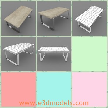 3d model the rustic long table - This is a 3d model the rustic long table,which is modern and has the wooden surface.The table is rough and made with raw material.