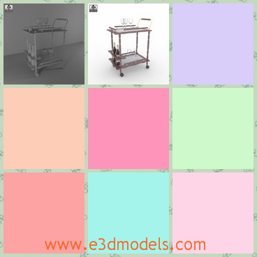 3d model the serving cart of restaurant - This is a 3d model of the serving cart of the restaurant,which is easy to handle with the movable wheels.