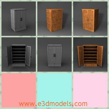 3d model the shoe storage - This is a 3d model of the shoe shorage,which is wooden cabinet and the furniture is placed at the doorside.
