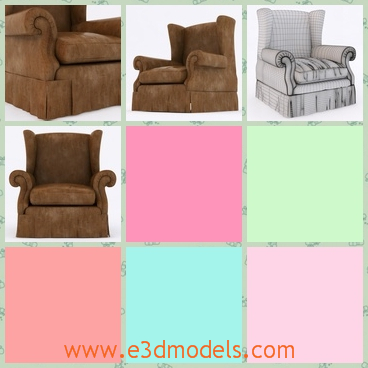 3d model the single armchair - This is a 3d model of the armchair,which is single and has a wingback with it.The furniture is placed in the living room.