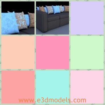 3d model the sofa and pillows - This is a 3d model of the sofa and pillows,which is the soft and modern couch in life.