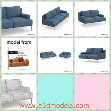 3d model the sofa from Italy - THis is a 3d model of the sofa from Italy,which is modern and painted .The divan is modern and popular in the country.