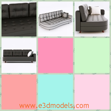 3d model the sofa in black - This is a 3d model of the sofa in black,which is realistic and the it is long to lie on.