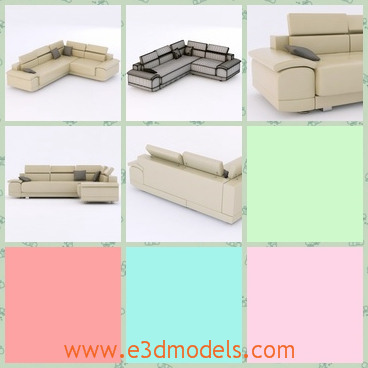 3d model the sofa in the white color - This is a 3d model of the soaf,which is white and pretty,and the model is moderna and popular.