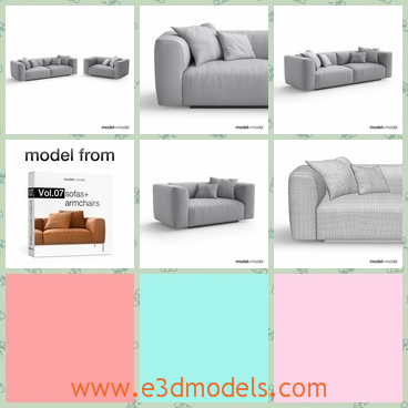 3d model the sofa with heavy covers - This is a 3d model of the sofa with heavy covers,which is comfortable and modern.The sofa is big and popular in the world.