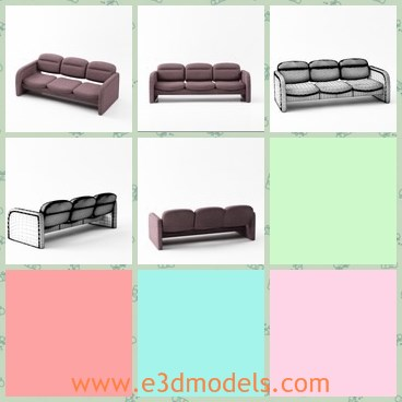 3d model the sofa with leather material - This is a 3d model of the sofa with leather material,which is modern and soft.The model is popular right now.