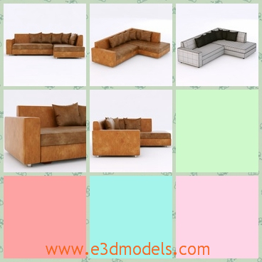 3d model the sofa with leather materials - This is a 3d model of the sofa with leather materials,which is large and spacious.The model is made in the most modern style.