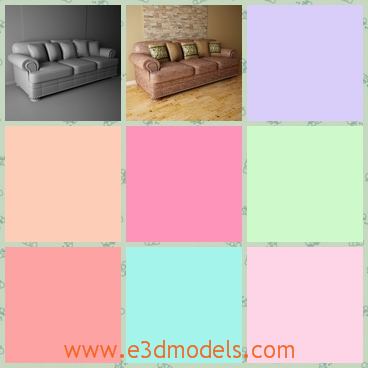 3d model the sofa with modern style - This is a 3d model of the sofa with modern style,which is large and glorious.The materials are stable and special.
