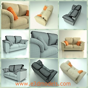3d model the sofa with pillows - This is a 3d model of the sofa,which has two seats and several pillows on it.
