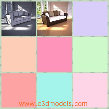 3d model the sofa with pillows - This is a 3d model of tht sofa with pillows,which is large and comfortabe.The model is created in the modern style.