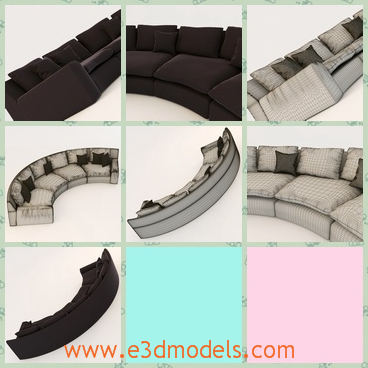 3d model the sofa with several pillows - This is a 3d model of the sofa with several pillows,which is the couch too.The model is practical because it can be used as the bed in the room.