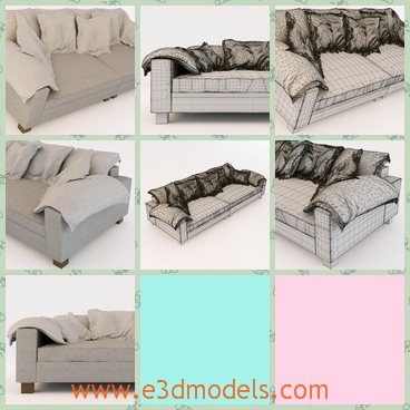 3d model the sofa with several pillows - This is a 3d model of the sofa with several pillows,which is placed on the it orderly.The modern is a little bit of outdated.