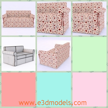 3d model the sofa with shiverings - This is a 3d model about the sofa with small pots on it.The model looks pretty at first sight.