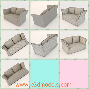 3d model the sofa with two pillows - This is a 3d model of the sofa with two pillows,which is grey and modern in the livning room.