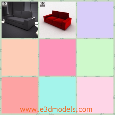 3d model the sofa with two seats - This is a 3d model of the sofa with two seats,which is long and spacious.The model is made with special materials.