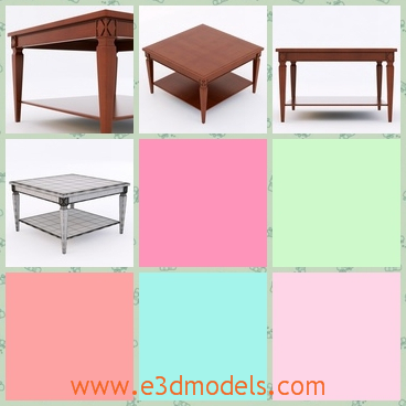 3d model the square table - This is a 3d model of the square table in the living room,which is big and has shorts legs.The surface is smooth.