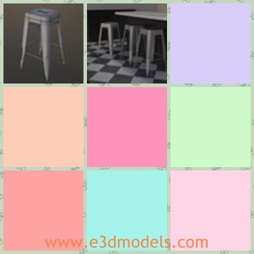 3d model the stool - This is a 3d model of the stool,which is tall and has long legs.The stool has no arms and which is stable.