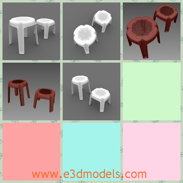 3d model the stool collection - This is a 3d model of the stool collection,which is short and plastic.The stool is placed outdoor and the materials are fine.