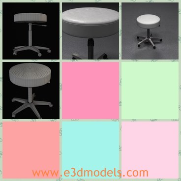 3d Model The Stool With A Leather Cover Share And