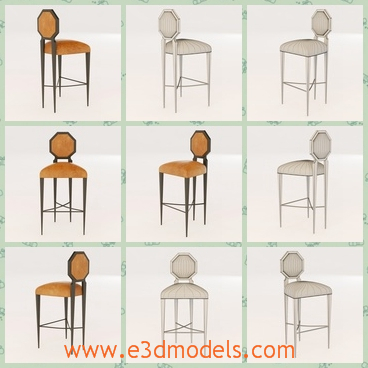 3d model the stool with a small back - This is a 3d model of the stool with a small back,which is high and light.The model has the special legs,they are sharp and very comfortable.