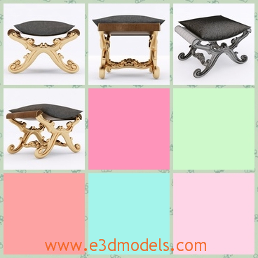 3d model the stool with the fine legs - This is a 3d model of the stool with fine legs,which is short but glorious.The model is made in Indian and the footstool is popular.