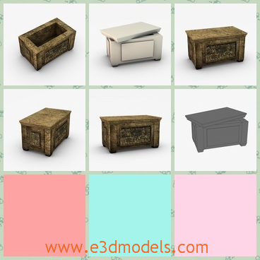 3d model the storage box made of stone - This is a 3d model of the storage box made of stone,which is the chest of Egypt in ancient times.The model is heavy to carry.