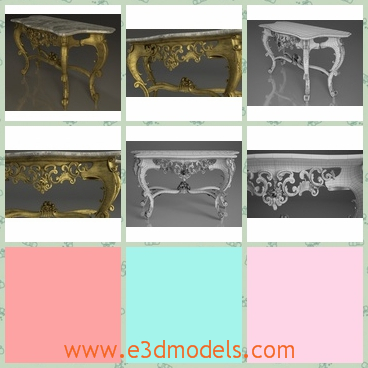 3d model the table in antique style - This is a 3d model about the table an antique  style,which is fine and glorious.The model has the carving shapes with it.
