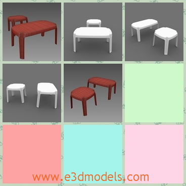 3d model the table in plastic - This is a 3d model of the table in plastic,which is armless but stable to sit on.The model is placed in gardens and parks.