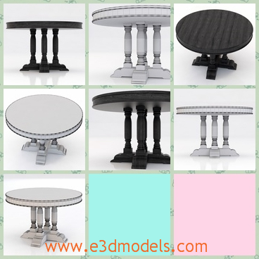3d model the table – round face - This is a 3d model of the round table,which has fours legs and one base.The model is ornamented with fine materials.
