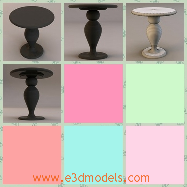 3d model the table with a fine holder - This is a 3d model of the table with a fine holder,which is not tall but solid and stable.The model is round and made of fine materials.