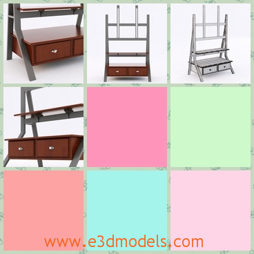 3d model the table with a shelf - This is a 3d model of the table with the shelf,which is special but useful.The model can also be used as the decoration in the room.