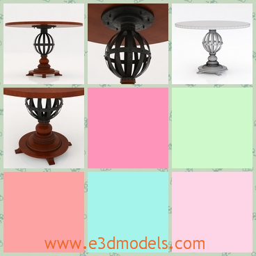 3d model the table with a wooden holder - This is a 3d model of a table with a wooden holder,which is round and brown.The holder of the table is speical.