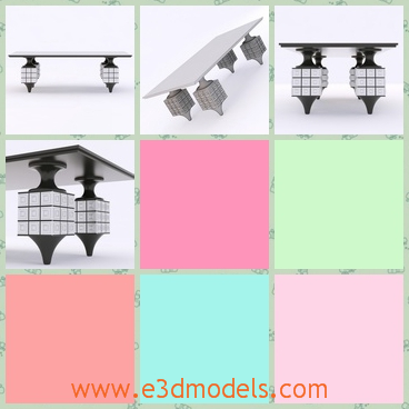 3d model the table with special legs - This is a 3d model of the table with special legs.The legs are surrounded by the tiles.