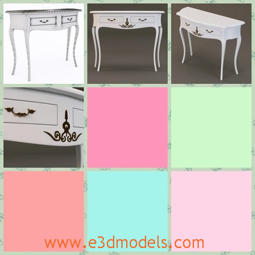 3d model the table with two drawers - This is a 3d model of the table with two drawers,which is standing in the living room and the shape is outstanding.