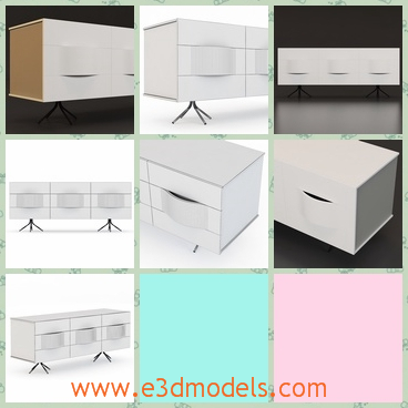 3d model the the contemporary furniture - This is a 3d model of the contemporary furniture,which is white and the model can be used as the dresser and the sideboard as well.