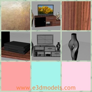 3d model the TV stand - This is a 3d model of the TV stand,which is common and modern.The model contains the TV,the remote control,the DVD player and cases.