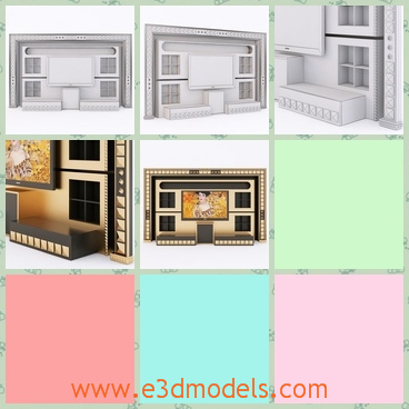 3d model the wall with the framed decoration - This is a 3d model about the wall with framed decorations,which are fine and modern.The model is the center of the room.